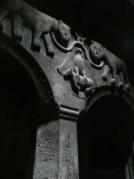 Stone carving in Geghard monastery