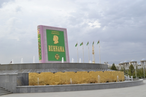 Monument to the great literary work, the Ruhnama, in Ashgabat