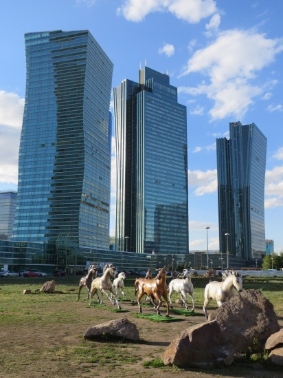 Of course the acclaimed architect behind these towers knew from the beginning that they would be perfectly complimented by some plastic horses out front