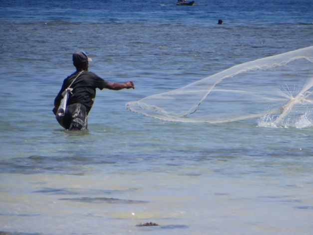 Typical Timorese beach user