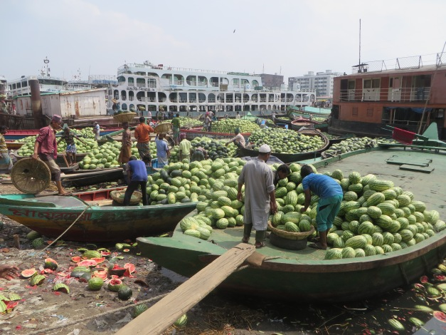 The hectic, riverside melon business