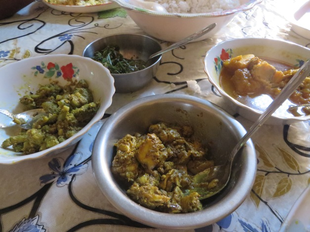 Surprisingly yummy cow's brain curry and various vegetables that dont have name sin English