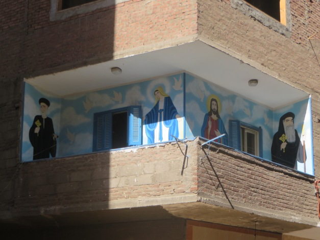 One of many brightly decorated balconies