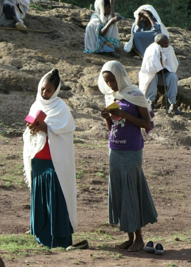 Worshipers at early morning ceremony at Lalibela. Almost certainly an example of nice Ethiopians