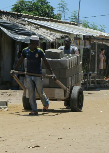 The pousse-pousse (push-push) is the most common means of transporting goods aoruind the streets